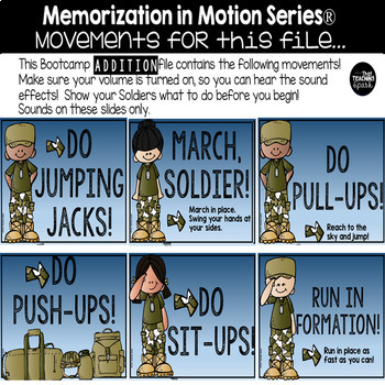 Brain Break Memorization in Motion Addition Boot Camp Edition