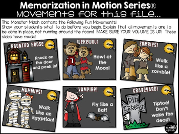 Brain Break Memorization in Motion Addition Monster Mash Halloween
