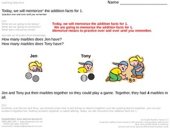 Memorize the addition facts for 1