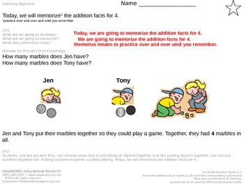Memorize the addition facts for 4