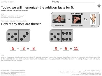 Memorize the addition facts for 5