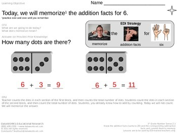 Memorize the addition facts for 6
