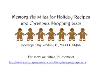 Memory Activities for Holiday Recipes and Christmas Shopping Lists