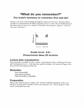 Memory Activity for Middle School