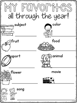 Memory Book End of the Year Activities