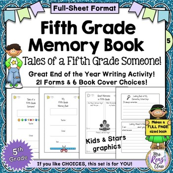 Memory Book for Fifth Grade (Full Page Format) with lots o