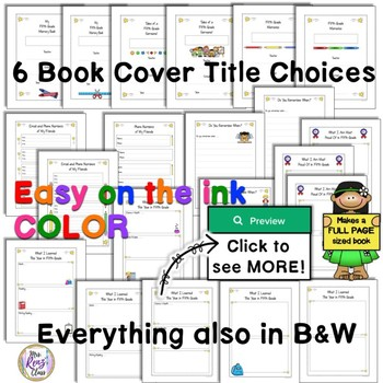 5th Grade Memory Book - Full page Fifth Grade Memory Book with lots of choices