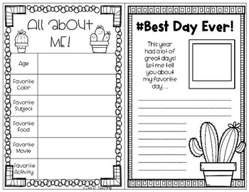 Cactus Themed: End of Year: Memory Book