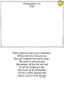 Memory Book Cover Page/Poem -Freebie