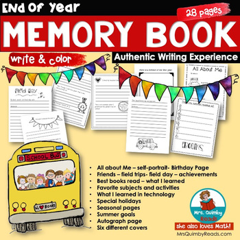 End of Year Memory Book   2018-2019   Printables   Writing