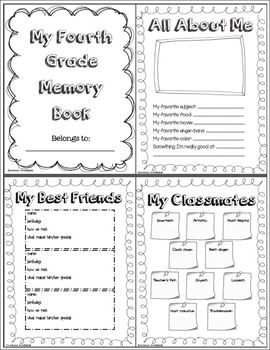 End of Year - Memory Book: Fourth Grade