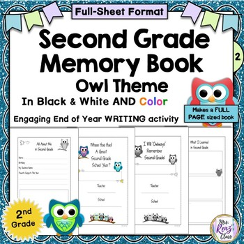 Second Grade Memory Book (Owl Themed in Color and BW Full