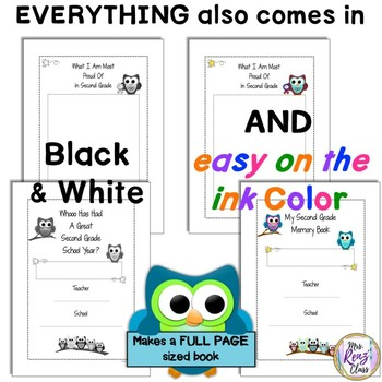 Second Grade Memory Book (Owl Themed in Color and BW Full Page Format)