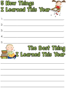 Memory Book With Cover Pages For K-5th!