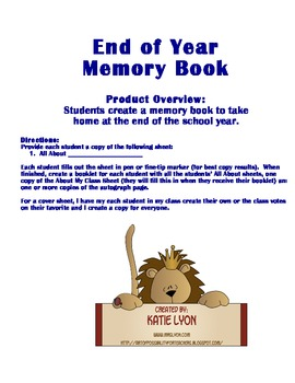 Memory Book for End of Year