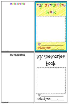 Memory Book for End of the Year/Grade Color and Black and White