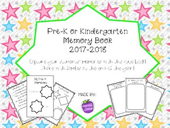 Memory Book for Pre-K or Kindergarten