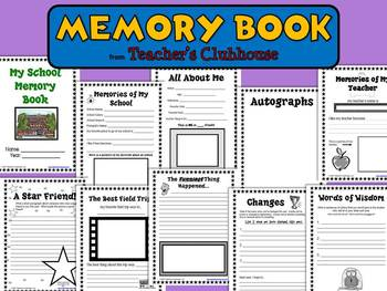 Memory Book from Teacher's Clubhouse