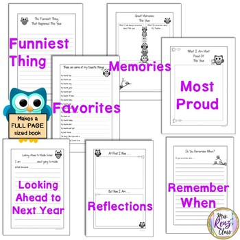 End of Year Memory Book You Can Use With Any Grade Any Year (Owl Themed)