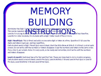 Memory Building Program Digit and Letter Recall