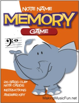 Memory (Concentration) Game | Bass Clef Note Names (Digital Print)