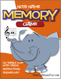Memory (Concentration) Game | Treble Clef Note Names (Digi