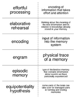 Memory Flash Cards For Psychology