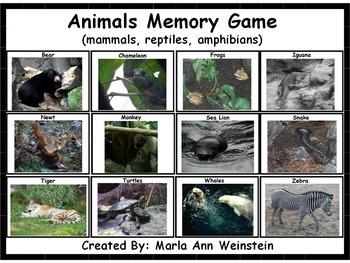 Animals (mammals, reptiles, amphibians) Memory Game