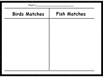 Animals (birds, fish, insects, invertebrates) Memory Game