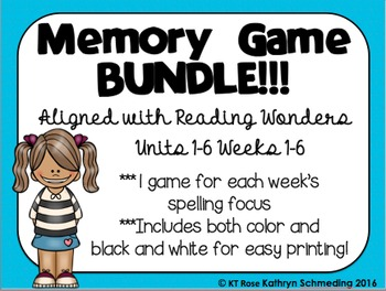 Memory Game BUNDLE!!!---Aligned with Reading Wonders Units 1-6 Weeks 1-6