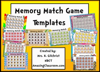 memory game concentration templates for promethean activinspire tpt