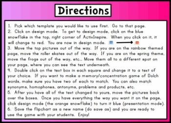 Memory Game Concentration Templates for Promethean ActivInspire