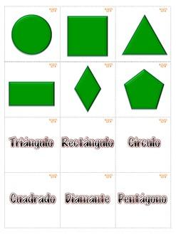 Memory Game Figuras de 2 dimensiones. Math Centers K-1st Spanish-Español