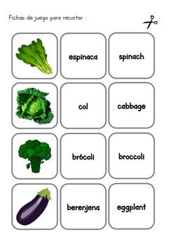Spanish Memory Game - Juego de Vocabulario en Español - Frutas y Verduras
