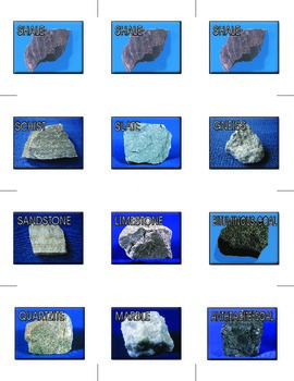 Memory Game – Metamorphic Rocks and Their Parents