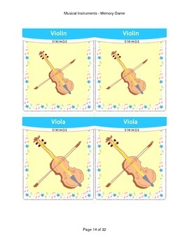 Memory Game Musical Instruments Music