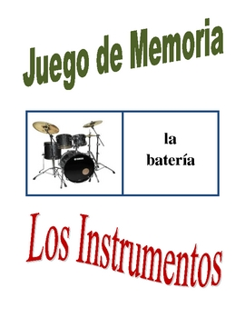 Spanish Musical Instruments Memory Game (Can  be Flashcards)