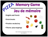 Memory Game - Pizza Toppings - English & French activities
