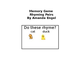 Memory Game- Rhyming Pairs