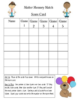 Memory Game Score Cards
