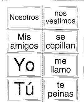 Memory Game - Spanish Present Tense Reflexive Verbs