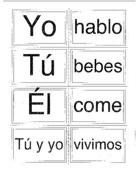 Memory Game - Spanish Present Tense Regular Verbs & Subjects