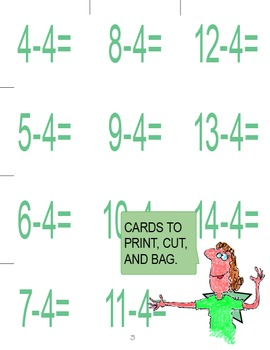 Subtraction Facts Memory Game