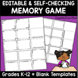 (Distance Learning) Memory Game Template -Editable & Self-