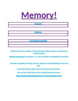 memory game template for all grade levels or subjects tpt