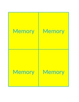 Memory Game Template for all grade levels or subjects