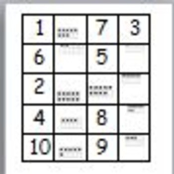 Memory Game numbers 1-10 using number names,tally marks,and ten frames