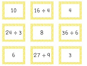Memory Game of Multiplication and Division