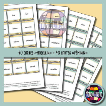 Memory Game to teach French/FFL/FSL: Personnalité/Personnality traits
