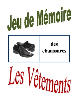 French Clothing Memory Game (Can  be used for Flashcards)